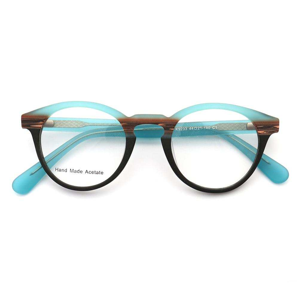 Women Wood Grain Round Eyeglass Frames Men Retro Vintage Glasses frames light Acetate Rx eyeglasses Eyewear frames Blue Striped