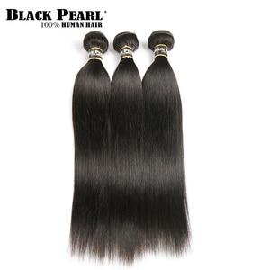 Image 2 - Black Pearl  Cheveux brésiliens droits Paquets de dentelle avant avec la fermeture Non  cheveux de Remy avec Frontal 3 paquets avec Frontal