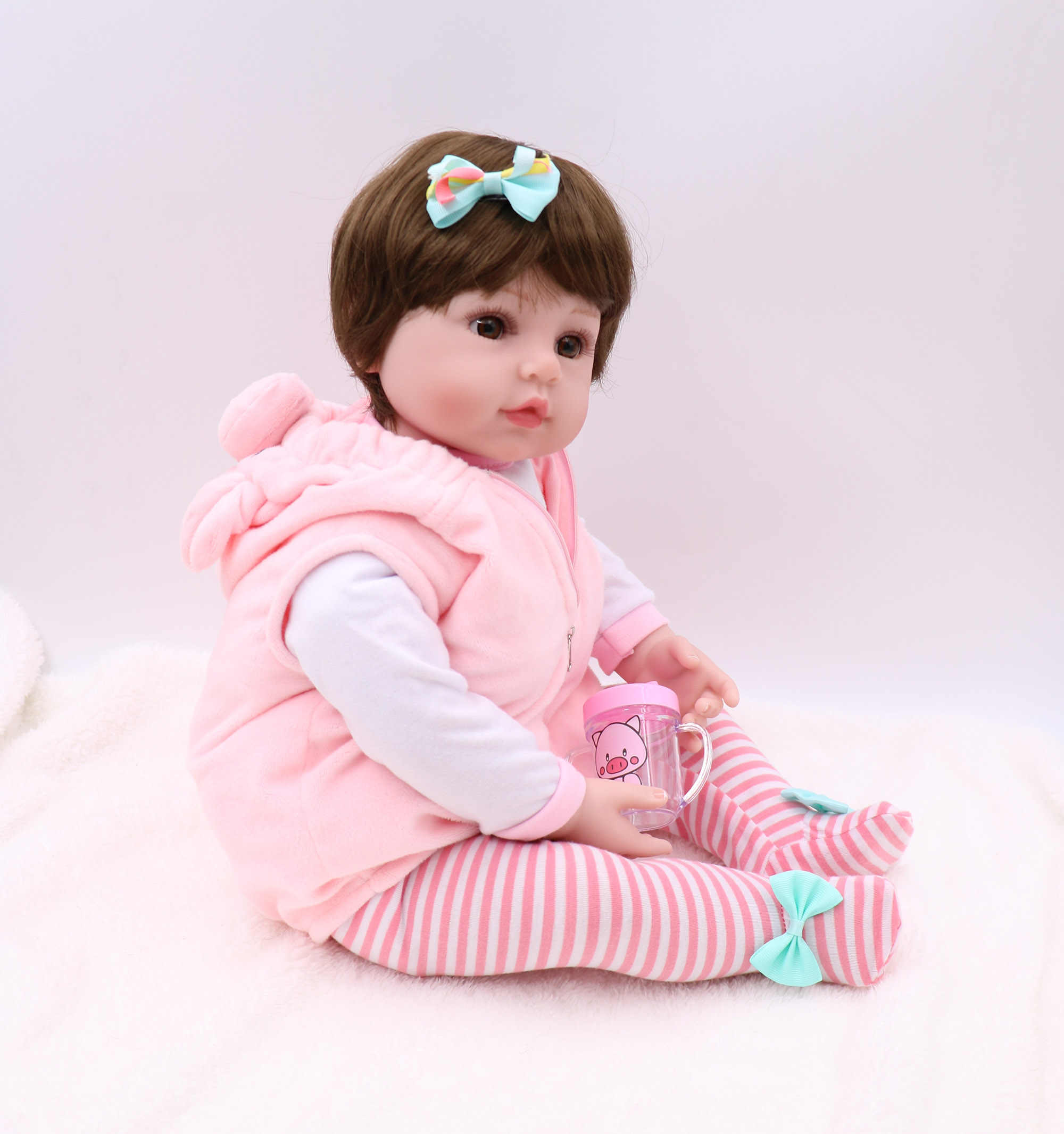 47cm Reborn toddler bebe doll reborn baby girl soft silicone vinyl stuffed body Christmas surprise gifts lol doll