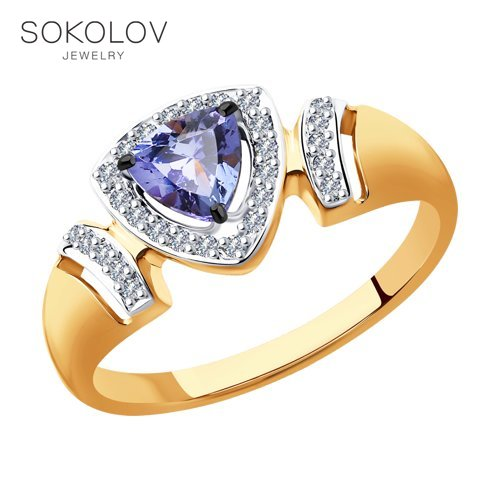 SOKOLOV Ring Gold With Diamonds And Tanzanite Fashion Jewelry 585 Women's Male