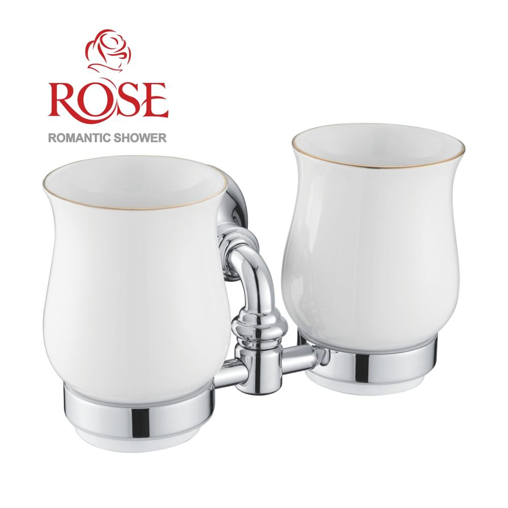 ROSE Cup Holder Double, Brass Holder And 2 Ceramic Cup, Wall Mounted Cup Holder Bathroom, Ceramic Cups For Toothbrushes And Water,brass Holder,chrome Plated Holder  RG1222