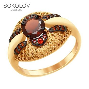 SOKOLOV Ring gilded with silver garnet and yellow and red fianitami fashion jewelry 925 women's male