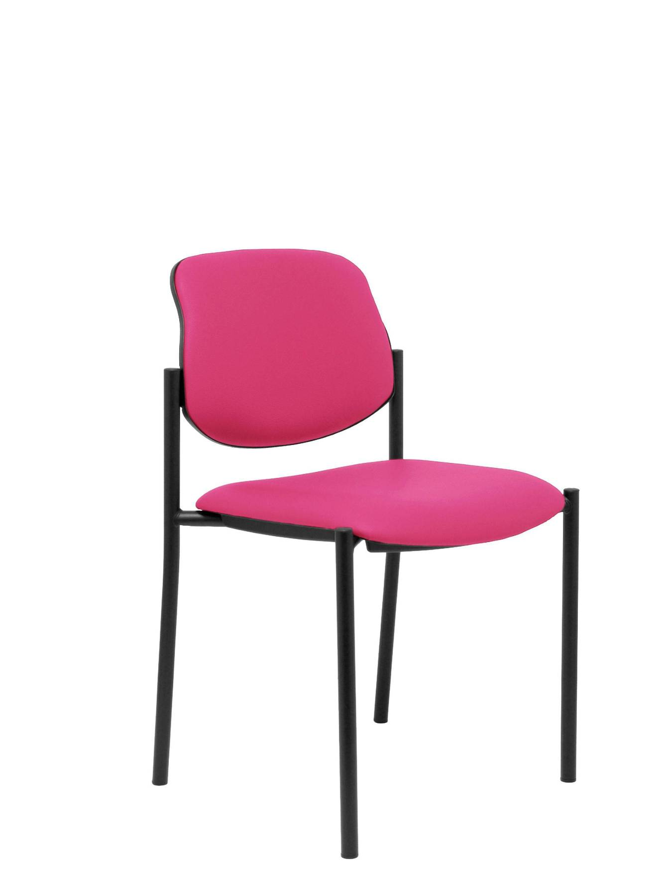 Visitor Chair 4's Topsy And Estructrua Negro-up Seat And Backstop Upholstered In Tissue Similpiel Pink Colour TAPHOLE AND