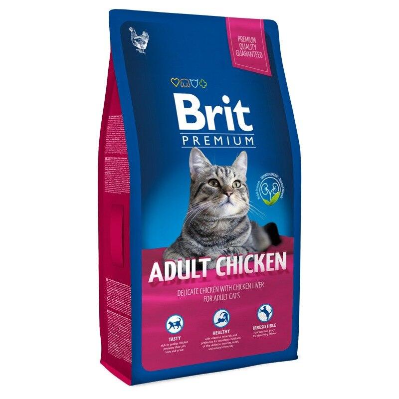 Корм для кошек Brit Premium Cat Adult для взрослых кошек, Курица, 8 кг