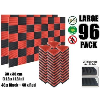 Arrowzoom 96 قطعة أحمر وأسود متعدد الوتد 12T الصوتية استوديو رغوة بلاط امتصاص الصوت لوحة 30x30 سم (11.8x11.8 ) KK1167