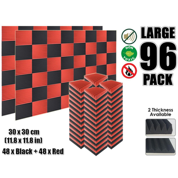 Arrowzoom 96 pcs Red and Black Multi-Wedge 12T Acoustic Studio Foam Tile Sound Absorption Panel 30 x 30 cm (11.8 x 11.8) KK1167