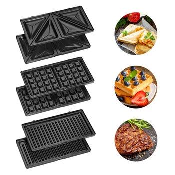 Clatronic ST 3670 Sandwich interchangeable plates, Sandwich toaster, waffle iron Belgian Waffle, Grill Iron machine meat fish 4