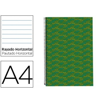 SPIRAL NOTEBOOK LEADERPAPER A4 MICRO MULTILIDER LINED TOP 140H 80GSM HORIZONTAL 5 BANDS 4 HOLES GREEN