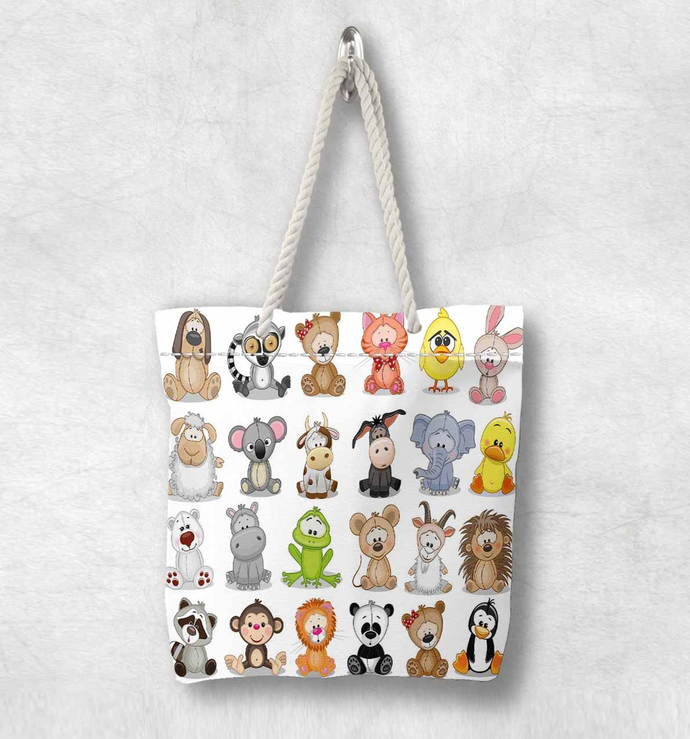 Else Colored Little Cute Funny Animals New Fashion White Rope Handle Canvas Bag  Cartoon Print Zippered Tote Bag Shoulder Bag