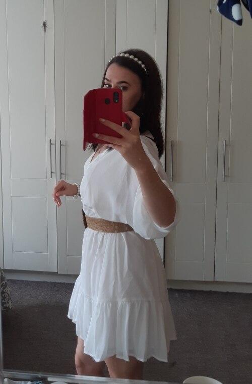 DICLOUD Sexy Plunge V Neck Women's Summer Dress White Lace Long Sleeve Mini Wedding Party Dress Ruffle Elegant Clothes 2021 Dresses    - AliExpress