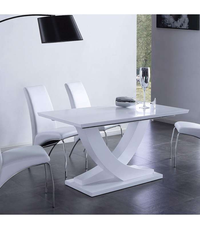 Extendable Table Matte Dining Room Or Kitchen Finished In White Color.