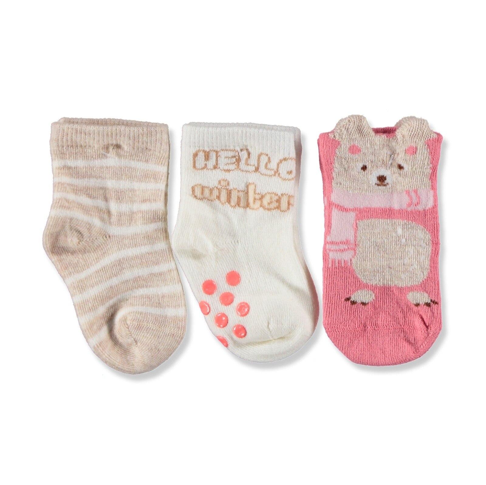 Ebebek Step 3 Pack Baby Socks Six Printed Hello Winter