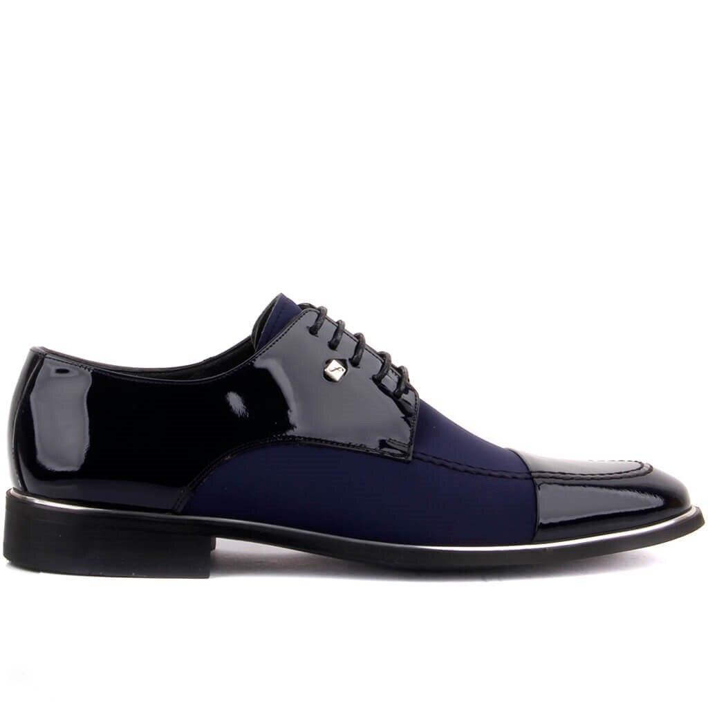 Fosco-sapatos clássicos masculinos de couro de patente azul marinho