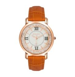 Reloj de mujer con correa de piel de cristal y luz solar