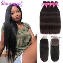 ישר שיער חבילות עם סגירת 4x 4/5x5 סגירת עם חבילות רמי שיער טבעי 3 חבילות עם סגירה הודי הארכת שיער