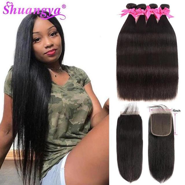 Straight Hair Bundles With Closure 4x4 Closure With Bundles Remy Human Hair 3 Bundles With Closure Indian Hair extension