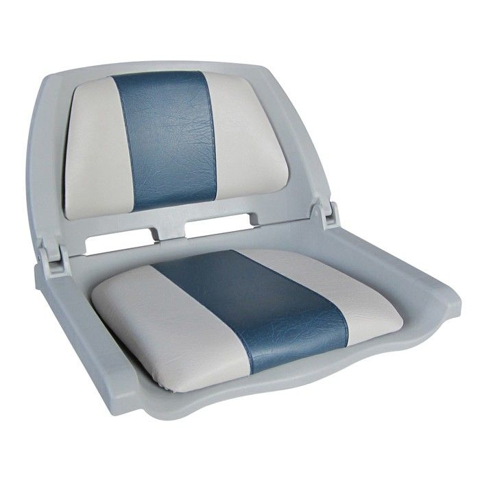 Chair Plastic Folding With Underlay Molded Fold-down Boat Seat, Gray/blue 75109GB