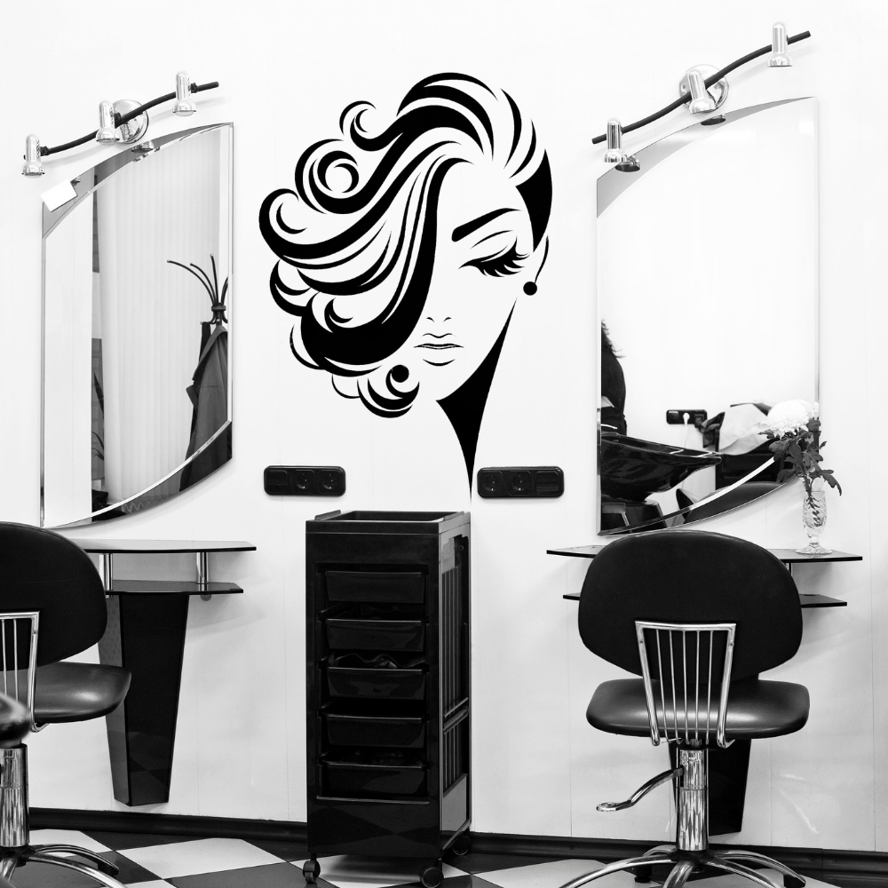 Lady Curly Short Hair Wall Sticker Decal Hair Salon Sticker Haircut Room Wall art Decoration A00492