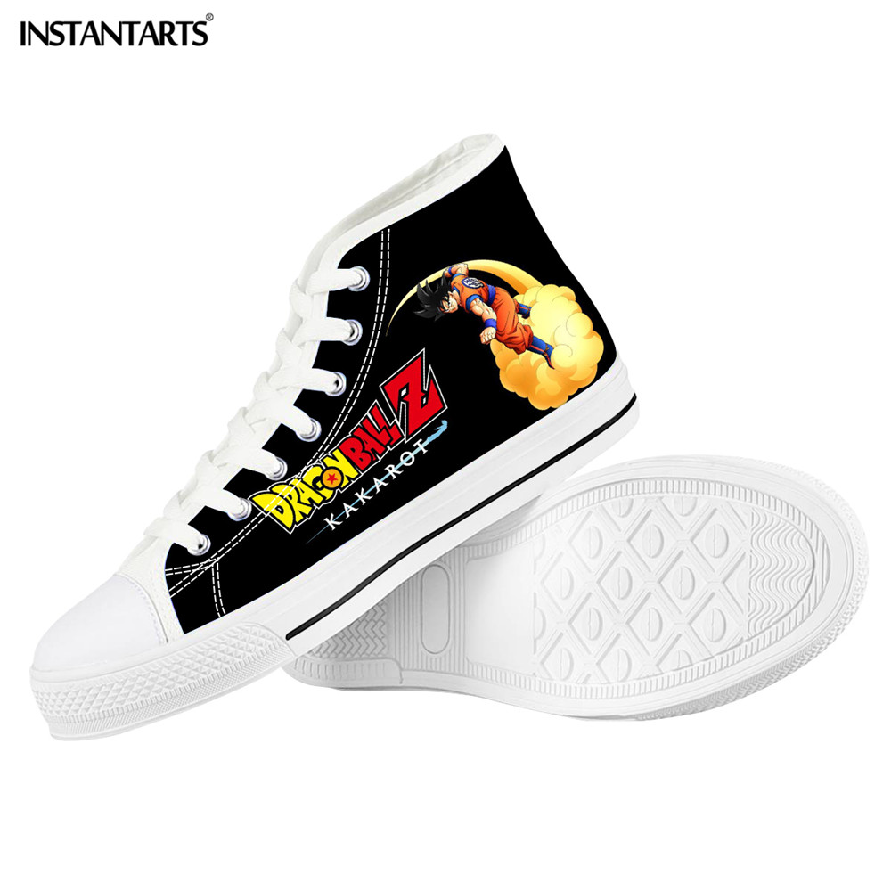 INSTANTARTS Casual Vulcanized Men Shoes Dragon Z Ball Super Saiyan Printing High Top Canvas Male Sneakers Shoes Tenis Masculino