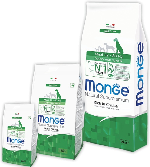 Monge dog Maxi Puppy food for puppy large breed Chicken, 12 kg. image