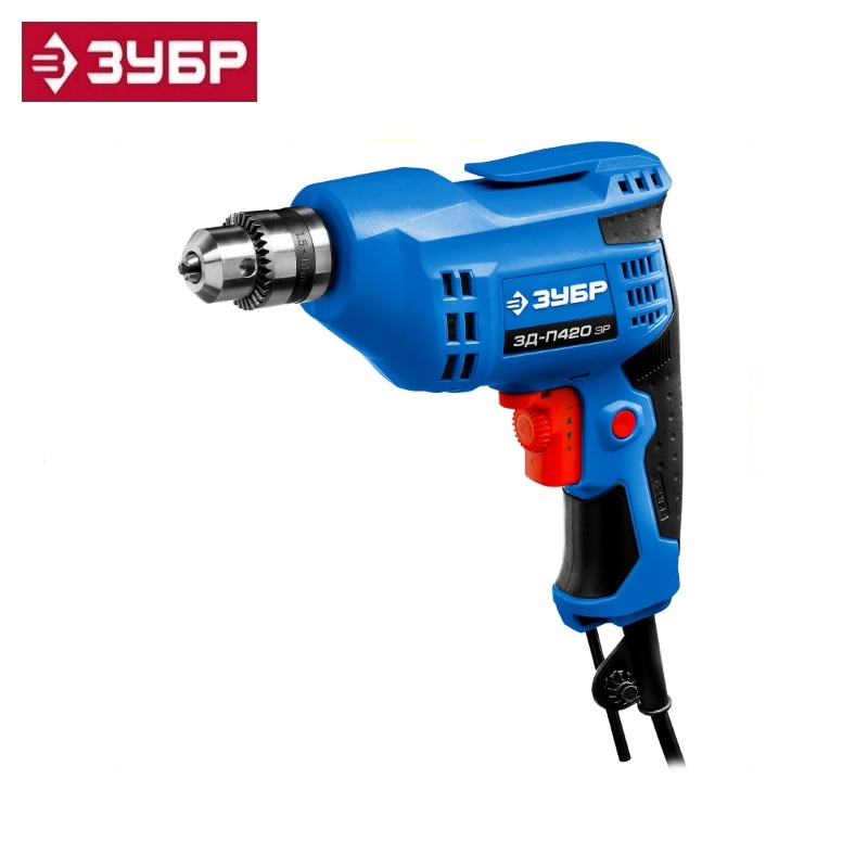 Reversible Drill, ZUBR Professional ZD-P420 ER, ER (electronic speed control), key cartridge, 10 mm, 420 W Multi Purpose Corded drill impact zubr du 550 er