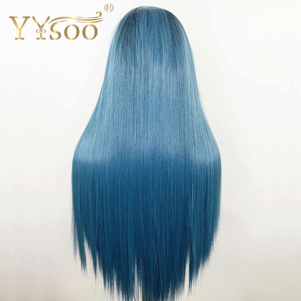 YYsoo 13x6 синтетический серебристый синий длинный Sliky Прямые парики для Для женщин Термостойкое волокно высокой плотности с эффектом деграде (переход от темного к Замена парики