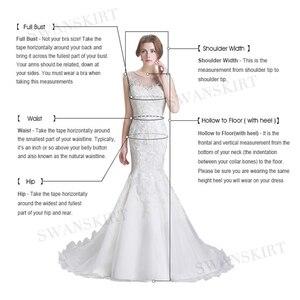 Image 5 - Dekolt w szpic aplikacje satynowa suknia ślubna Swanskirt SW06 krótki kimonowy rękaw koronkowa linia sąd pociąg iluzja suknia ślubna vestido de noiva