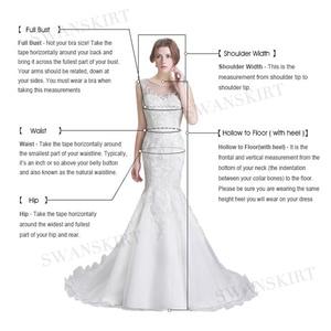 Image 5 - Suknia ślubna satynowa z długim rękawem 2020 Swanskirt kryształowy pas z kieszonką suknia ślubna księżniczka Vestido de novia TZ27