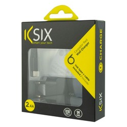 Wall Charger + USB A to USB C Cable KSIX USB Black