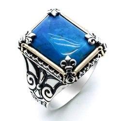 925 пробы Серебряное бирюзовое мужское кольцо Модель 4