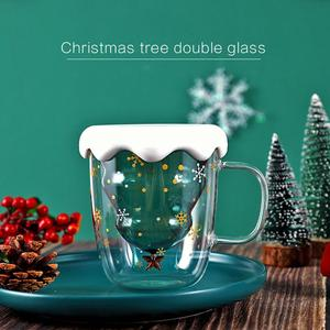 New 300ML Double Layered Anti Scald Glass Christmas Tree Starry Sky Coffee Mug Thermal Insulation Breakfast Milk Cup