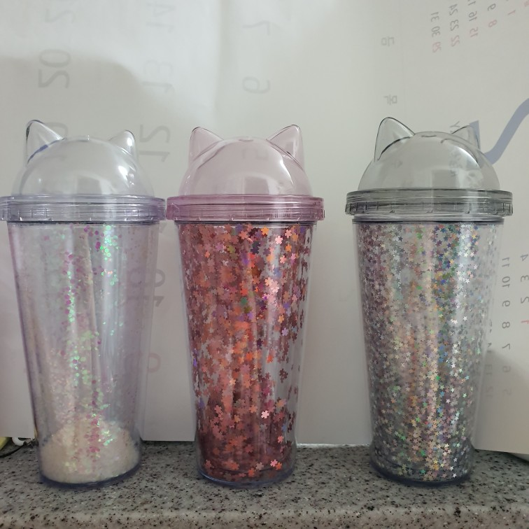 Sequined BPA Free Water Bottle with Straw Plastic Flash Cat Ear Double Wall Drinking Bottle  Coffee Juice Cup|Water Bottles|   - AliExpress
