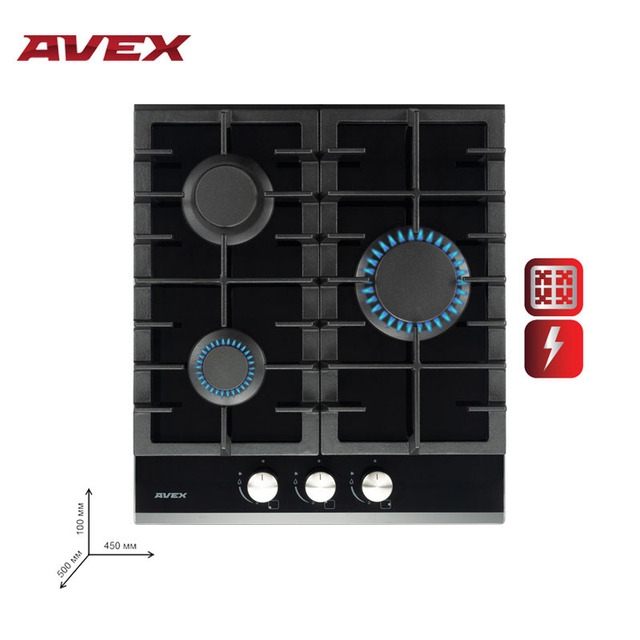 Built in Hob gas on glass AVEX HM 4531 B Home Appliances Major Appliances gas cooking Surface hob cookers cooking unit