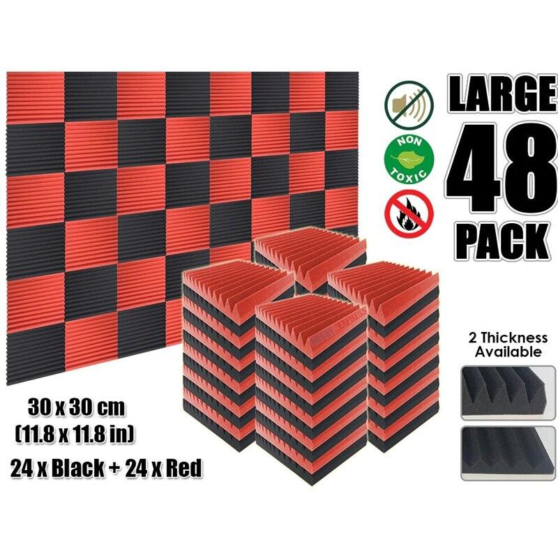 "Arrowzoom 48 pcs Red and Black Multi-Wedge 12T Acoustic Studio Foam Tile Sound Absorption Panel 30 x 30 cm (11.8 x 11.8"") KK1167"