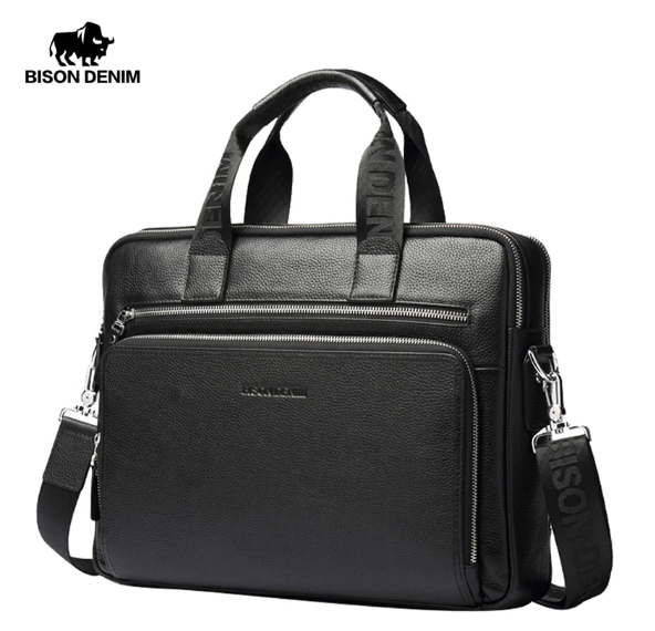 Мужской портфель из натуральной кожи Bison Denim N2333-3