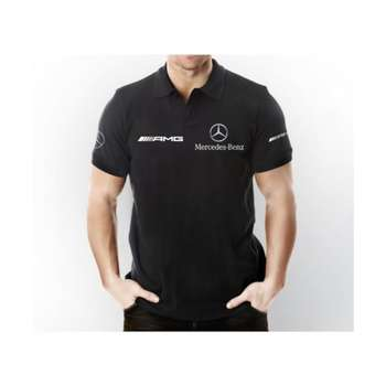 Mercedes AMG Polo Collar Short Sleeve Black T-Shirt