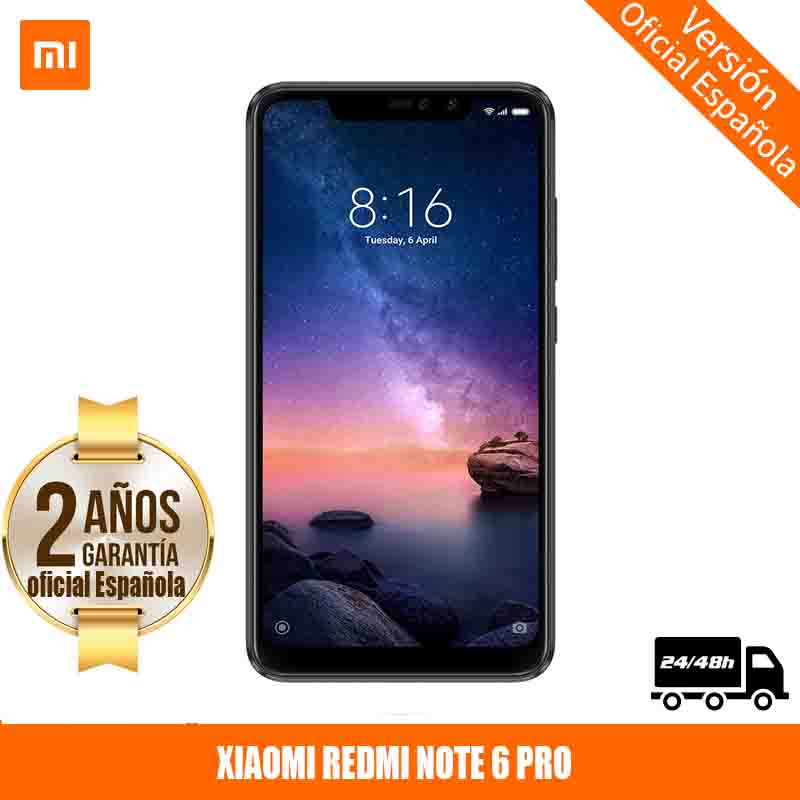 "[Official Spanish Version Warranty] Xiaomi Note Redmi 6 Pro Smartphones 6.26 ""Screen Notched 4 Hard GB 64 Hard GB, Dual SIM"