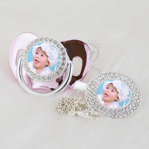 Image 4 - MIYOCAR custom pacifiers dummy any name photo silver bling pacifier and pacifier clip BPA free dummy bling amazing design P 1 P