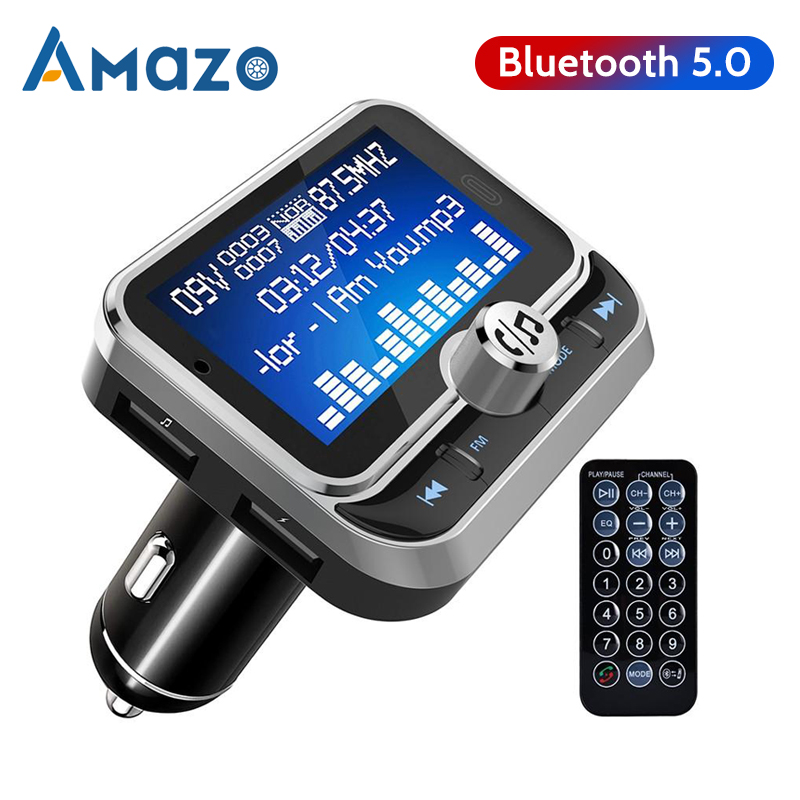 1.8 Inch <font><b>LCD</b></font> <font><b>FM</b></font> <font><b>Transmitter</b></font> <font><b>Bluetooth</b></font> Car <font><b>MP3</b></font> <font><b>Player</b></font> Handsfree Wireless Transmiter Radio Adapter USB Car Charger Remote Control image