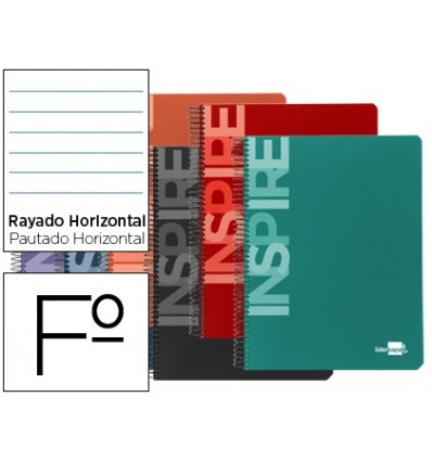 SPIRAL NOTEBOOK LEADERPAPER FOLIO INSPIRE HARDCOVER 80H 60 GR HORIZONTAL MARGIN ASSORTED COLORS 10 Pcs