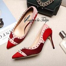 MNK 930038 Stylish Kid Suede Rivet Mixed Colors Elegant Sheepskin Pumps 6.5/8.5CM Heel Stilettos Fancy Party Wedding Women Shoes