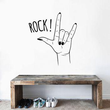 Rock n Roll signo de mano Arte De Línea arte de pared vinilo adhesivo estético pegatina para la decoración del hogar A001521