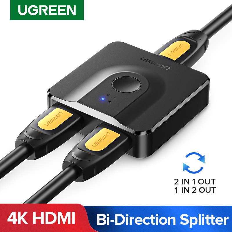 Ugreen hdmi divisor 4 k hdmi switch bi-sentido 1x 2/2x1 adaptador hdmi switcher 2 em 1 para fora para ps4/3 caixa de tv hdmi interruptor
