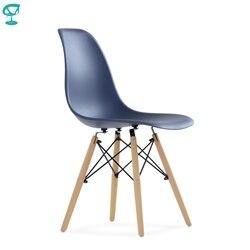 95757 Barneo N-12 темно-синий пластиковый кухонный стул на деревянном основании современный стул интерьерный стул для кухни стул столовый стул диз...