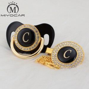 Image 4 - MIYOCAR Oro argento nome Iniziali lettera C bella bling ciuccio e ciuccio clip di set BPA libero dummy bling design unico LC