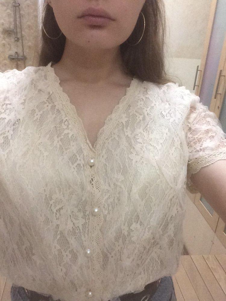 Elegant V Neck Sexy Loose Korea Chic Women Short Sleeve Fresh All Match Simple Sweet Shirt photo review