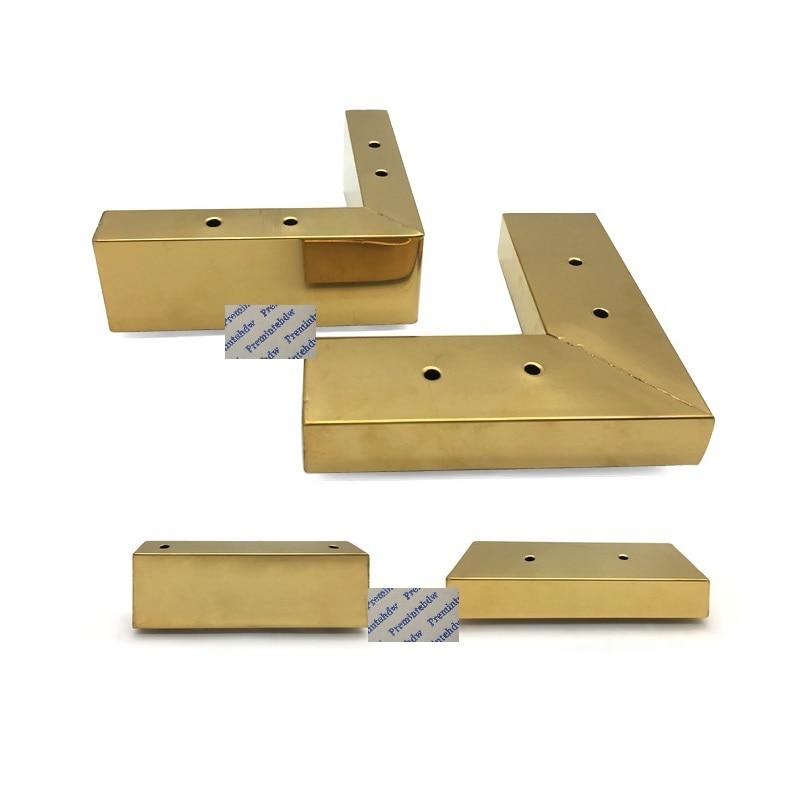2Pcs Titanium Gold Metal Steel Square Tube L Slot Shaped Sofa Feet Coffee Bar TV Cabinet Dressing Cabinet Showcase