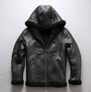 Jacket Men Coat Brown Genuine-Leather Sheepskin Winter Male Black Fur Fur-Collar