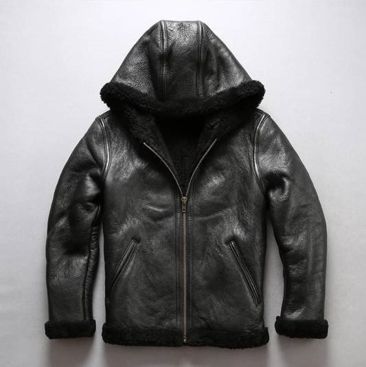Fur Collar Genuine Leather Jacket Men Black Brown Sheepskin Coat Winter Bomber Jacket Male