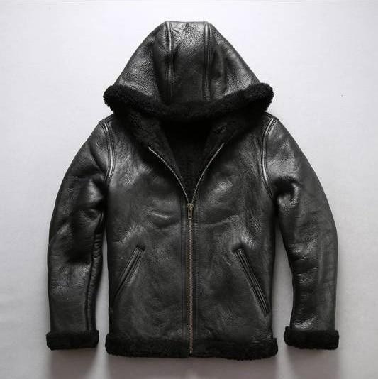 Fur Collar Genuine Leather Jacket Men Black Brown Sheepskin Coat Winter Bomber Jacket Male